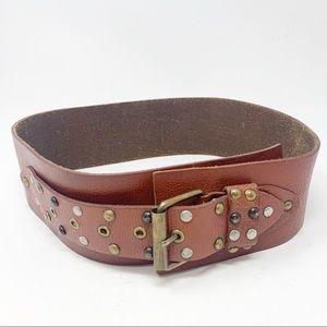 Anthro Linea Pelle leather studded corset belt S